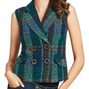 Cabi Wool Blend Vest Style #908 Blue Plaid Tweed